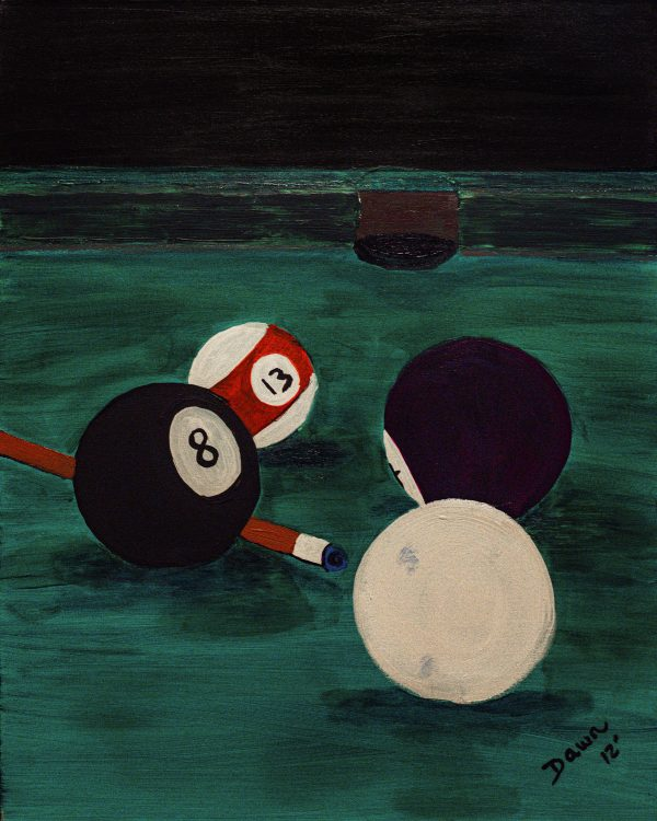Behind the Eight Ball Acrylic Painting by Dawn M. Wayand