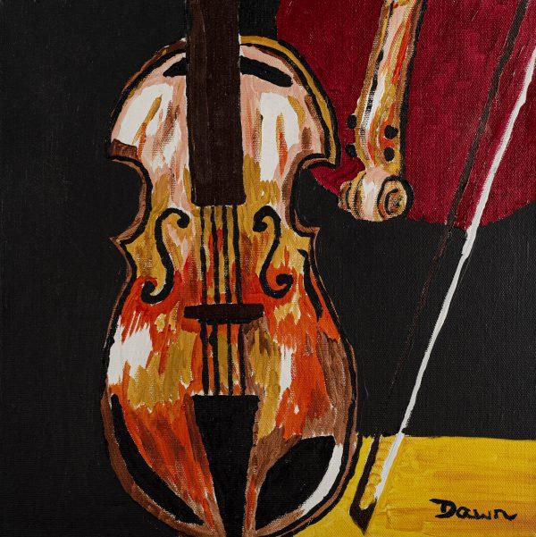 Broken Violin I Acrylic Painting by Dawn M. Wayand