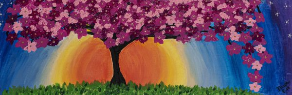 Cherry Blossoms Before Twilight I Acrylic Painting by Dawn M. Wayand