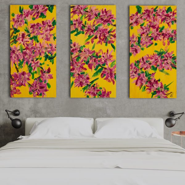 Cherry Blossoms Triptych I Acrylic Paintings by Dawn M. Wayand