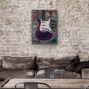 Graffiti Electric Guitar I Acrylic & Mixed Media Painting by Dawn M. Wayand