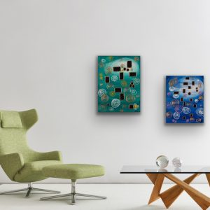 Imaginary Things I & II Acrylic Paintings by Dawn M. Wayand