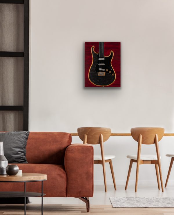 Marble Black Guitar on Red Acrylic & Mixed Media Painting by Dawn M. Wayand