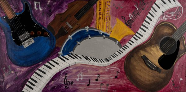 Music in My Dreams Acrylic & Mixed Media Painting by Dawn M. Wayand