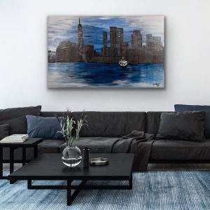 NYC Skyline in Silhouette II Acrylic Painting by Dawn M. Wayand