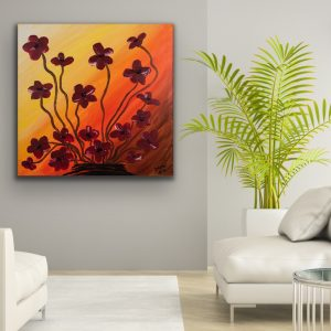 Poppies at Sunset Acrylic Painting by Dawn M. Wayand