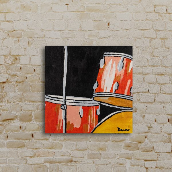 Red Drums I Acrylic Painting by Dawn M. Wayand
