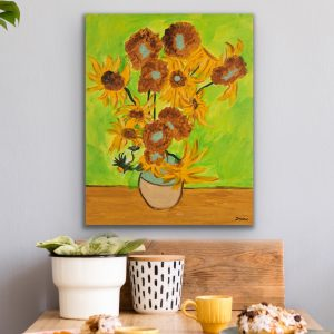 Sunflowers II Acrylic Painting by Dawn M. Wayand