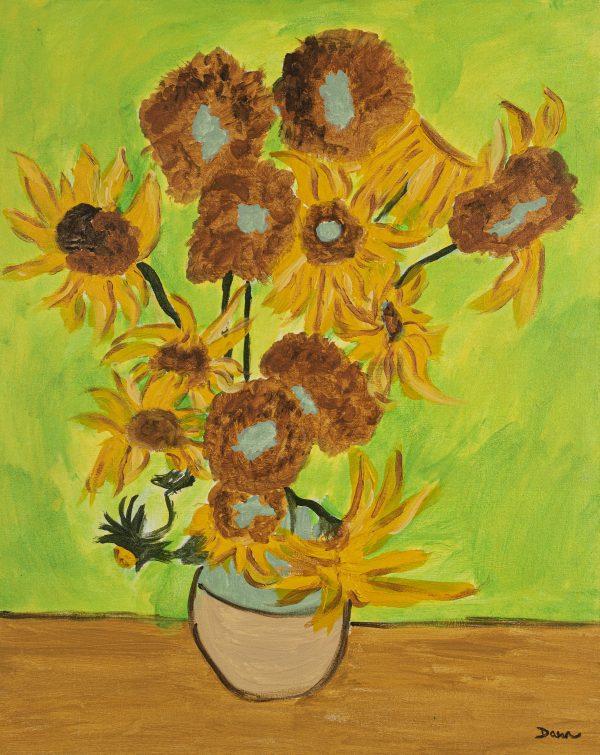 Sunflowers II Acrylic Painting by Dawn M. Wayand