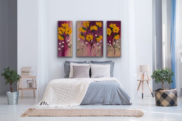 Sunflowers Triptych I Acrylic Paintings by Dawn M. Wayand