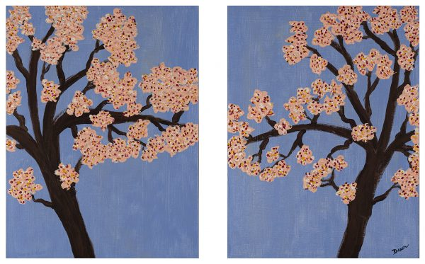 Cherry Blossoms in Spring I & II Acrylic Paintings by Dawn M. Wayand