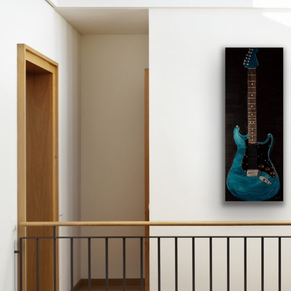 Electric Guitar in Metallic Cobalt Blue I Acrylic & Mixed Media Painting by Dawn M. Wayand