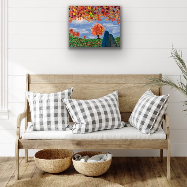 Lazy Fall Day Under a Tree Acrylic Painting by Dawn M. Wayand