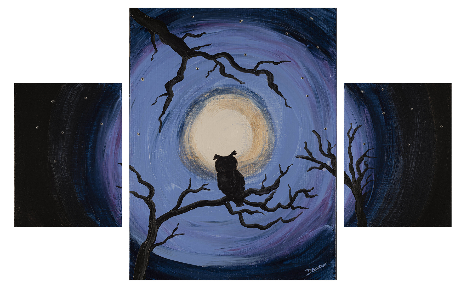 Owl in the Moonlight I, an Acrylic & Mixed Media Painting by Dawn M. Wayand