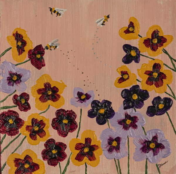 Pansies I Acrylic Painting by Dawn M. Wayand