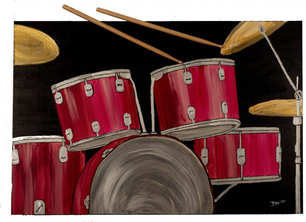Red Drums II Acrylic and Mixed Media Painting by Dawn M. Wayand