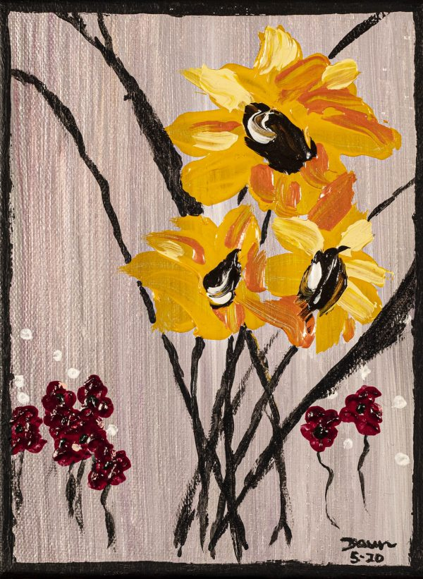 Sunflowers IV Acrylic Painting by Dawn M. Wayand