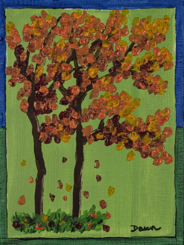 The Four Seasons II - Fall Acrylic Painting by Dawn M. Wayand
