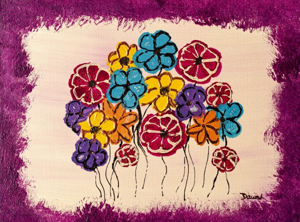 Flowers Like Candy Acrylic Painting by Dawn M. Wayand