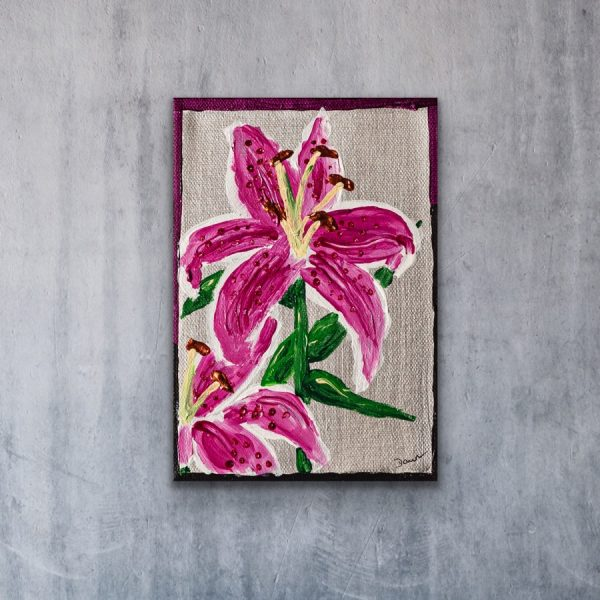 Lilies II Acrylic Painting by Dawn M. Wayand