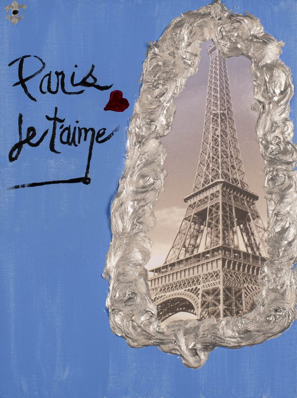 Paris Je T'aime II Acrylic and Mixed Media Painting by Dawn M. Wayand