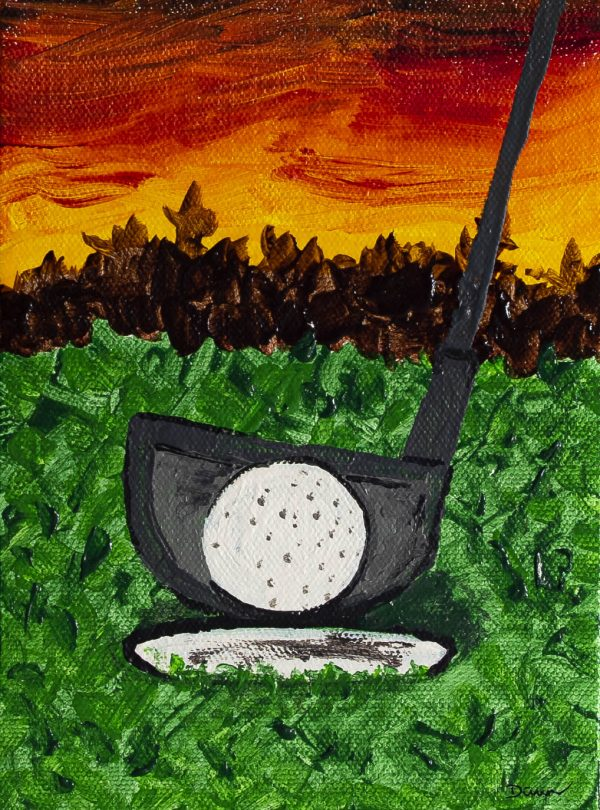 A Game of Golf I Acrylic Painting on Canvas by Dawn M. Wayand