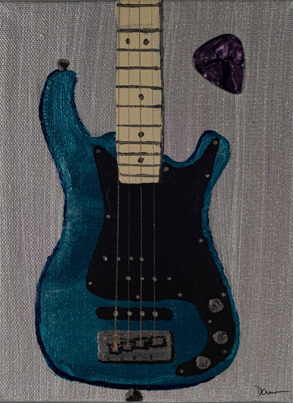 Bass Guitar in Metallic Blue I Acrylic & Mixed Media Painting by Dawn M. Wayand