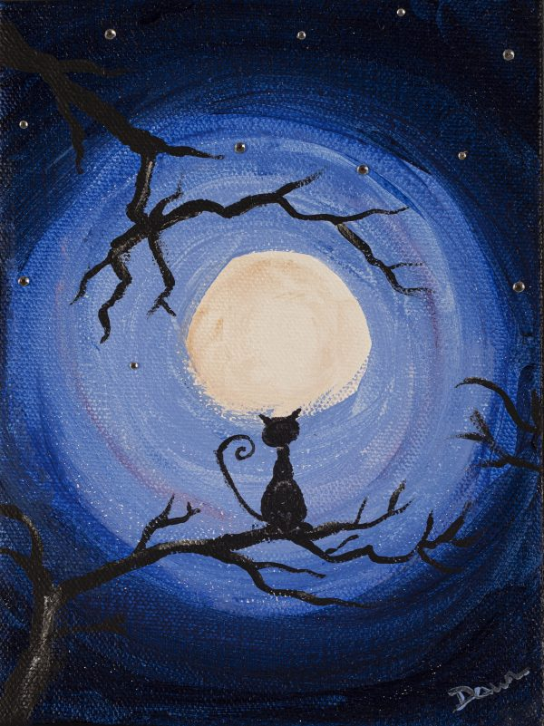 Cat and the Moon I Acrylic and Mixed Media Painting by Dawn M. Wayand