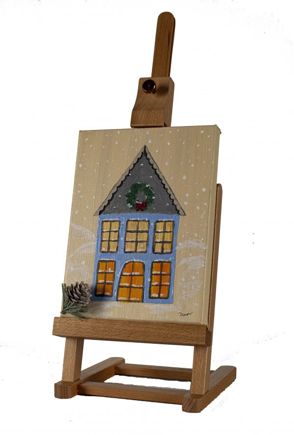Country Holiday Home I Acrylic and Mixed Media Painting by Dawn M. Wayand