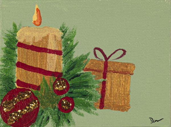 Holiday Candle I Acrylic and Mixed Media Painting by Dawn M. Wayand