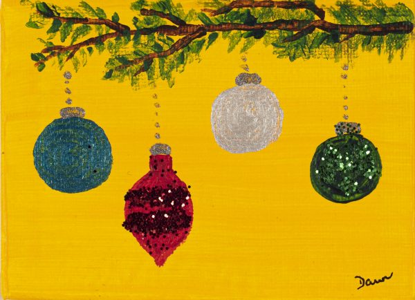 Holiday Ornaments I Acrylic and Mixed Media Painting by Dawn M. Wayand