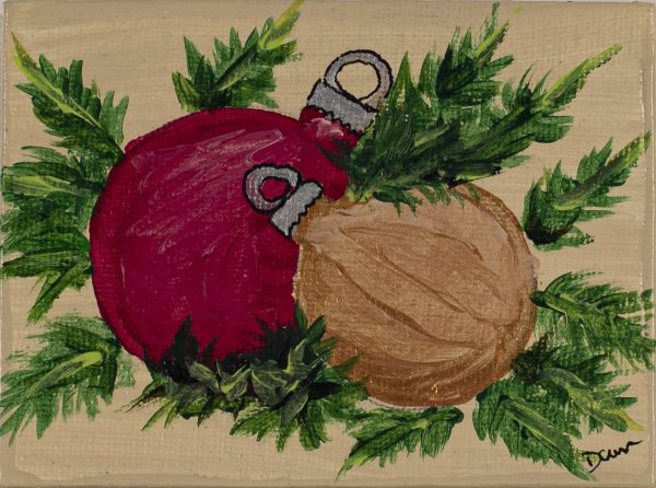 Holiday Ornaments on Pine I Acrylic Painting by Dawn M. Wayand