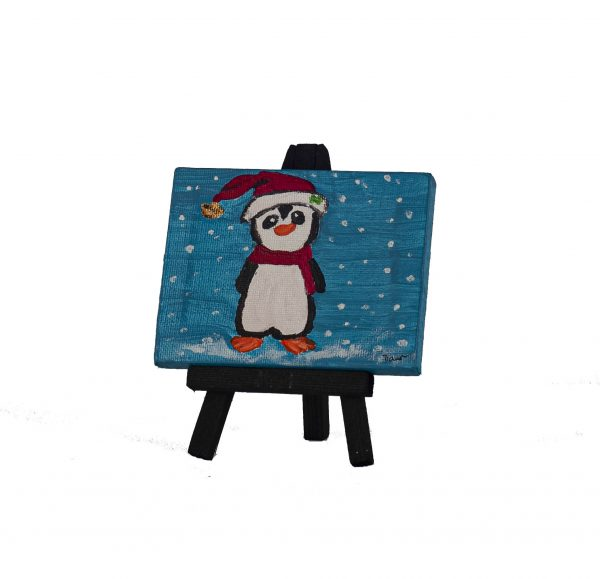 Holiday Penguin I Acrylic Painting by Dawn M. Wayand