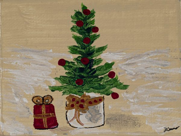 Holiday Tree Gift I Acrylic Painting by Dawn M. Wayand