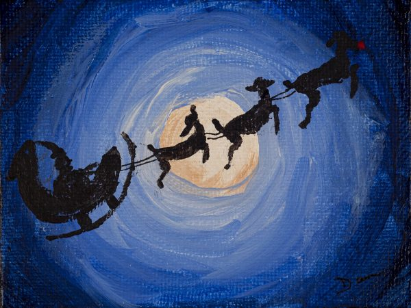 Santa in the Sky I Acrylic Painting by Dawn M. Wayand