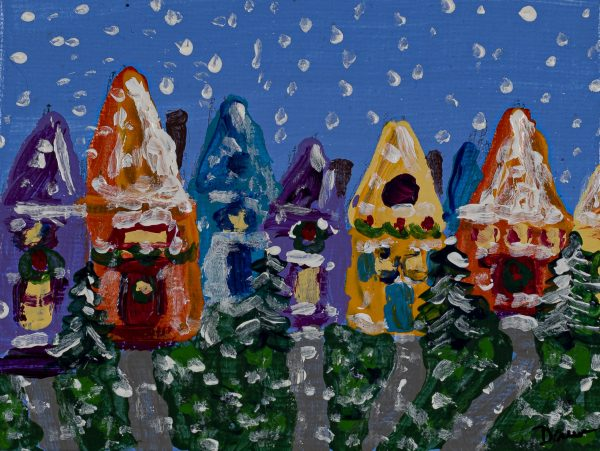 Winter Holiday Houses I Acrylic Painting by Dawn M. Wayand