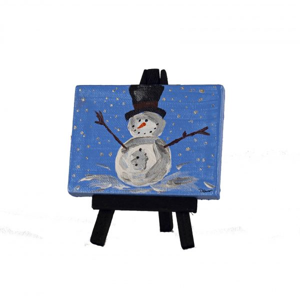 Winter Snowman I Acrylic Painting by Dawn M. Wayand