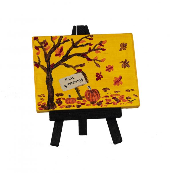 Fall Greetings I Acrylic Painting by Dawn M. Wayand