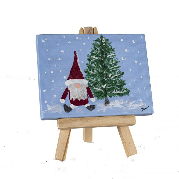 Holiday Gnome I Acrylic Painting by Dawn M. Wayand