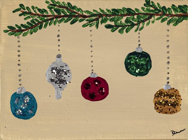 Holiday Ornaments II Acrylic and Mixed Media Painting by Dawn M. Wayand