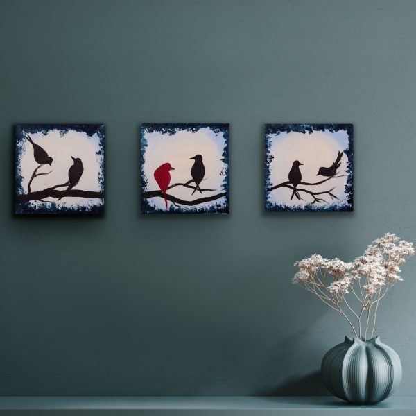 The Difference Is Acrylic Triptych Paintings by Dawn M. Wayand