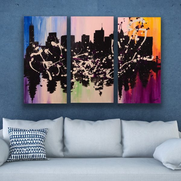 NYC Skyline in Bloom I Acrylic Triptych Paintings by Dawn M. Wayand