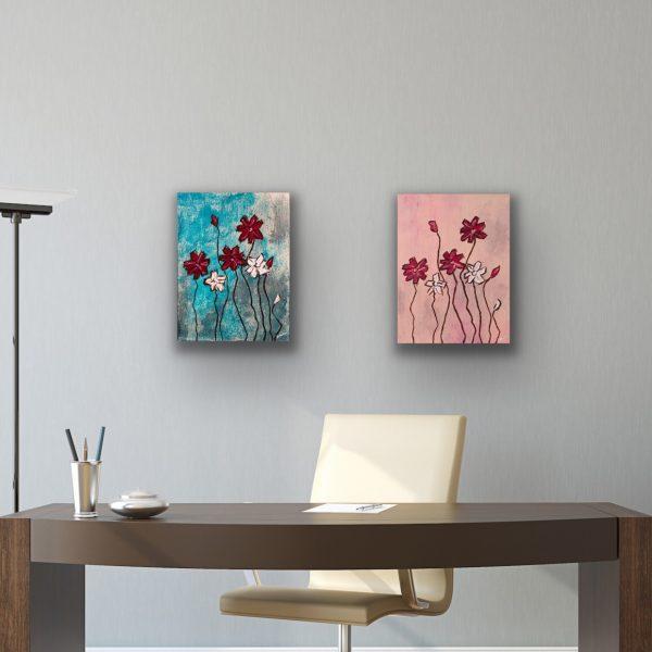 Wildflowers II and III Acrylic Paintings by Dawn M. Wayand