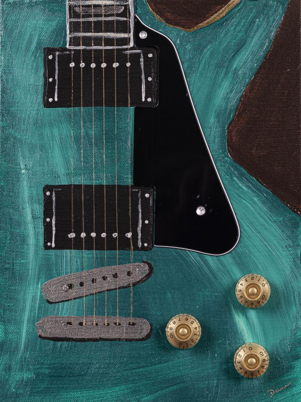 Electric Guitar Candid in Green I Acrylic and Mixed Media Painting by Dawn M. Wayand