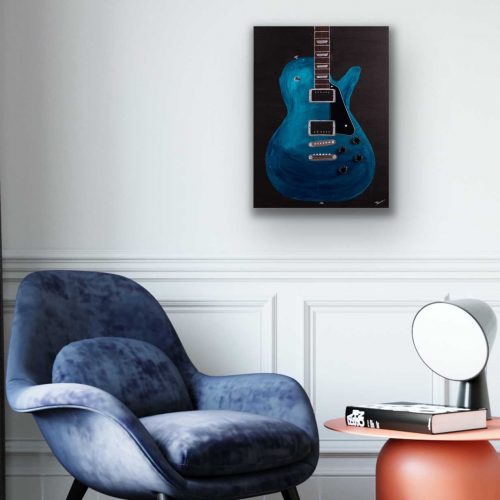 Electric Guitar in Metallic Cobalt Blue II Acrylic and Mixed Media Painting by Dawn M. Wayand