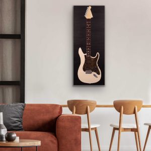 Electric Guitar in Unbleached Titanium I Acrylic and Mixed Media Painting by Dawn M. Wayand