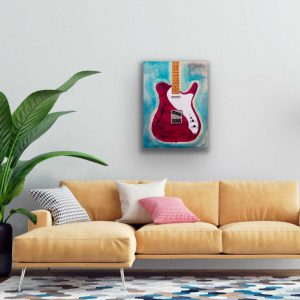Ocean Rhythm Electric Guitar in Magenta I Acrylic and Mixed Media Painting by Dawn M. Wayand