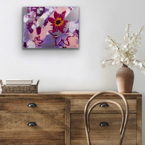 Shadowboxing Flowers I Acrylic Painting by Dawn M. Wayand