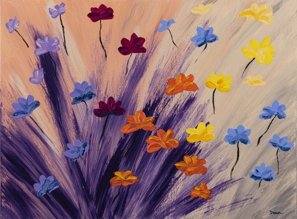 Wildflowers in the Mist I Acrylic Painting by Dawn M. Wayand