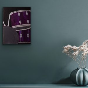 Drums in Deep Violet Candid I Acrylic Painting by Dawn M. Wayand